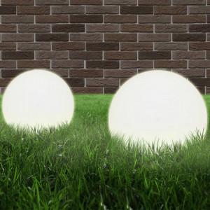 Lămpi bol cu LED, 2 buc, sferice, 30 cm, PMMA