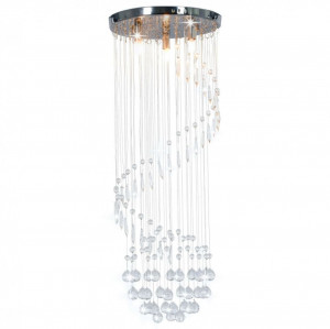 Lustră cu mărgele de cristal, argintiu, spirală, G9