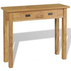 Masă consolă din lemn masiv de tec, 90 x 30 x 80 cm