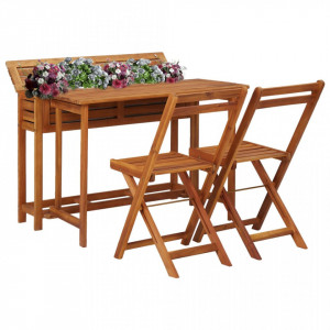 Masă cu jardinieră de balcon cu 2 scaune bistro, lemn de acacia