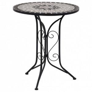 Masă de bistro mozaic, gri, 61 cm, ceramică