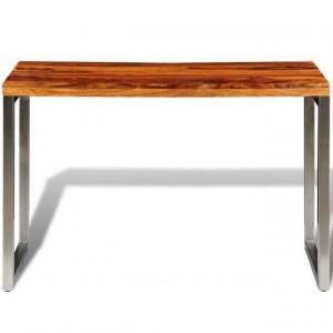 Masă de bucătărie lemn masiv sheesham birou cu picioare de oțel