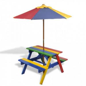 Masă de picnic pentru copii cu bănci & umbrelă, lemn multicolor