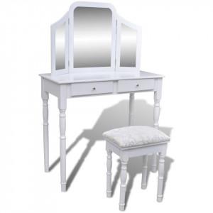 Masă de toaletă cu oglindă 3 în 1 și taburet, 2 sertare, alb