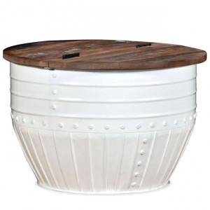 Măsuță de cafea în formă de butoi Lemn masiv reciclat Alb
