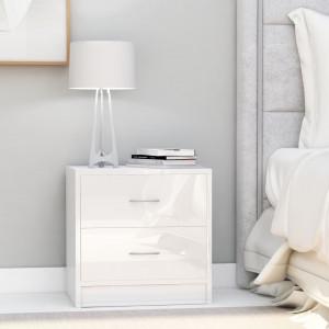 Noptiere, 2 buc., alb extralucios, 40 x 30 x 40 cm, PAL