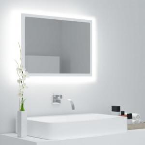 Oglindă de baie cu LED, alb, 60x8,5x37 cm, PAL