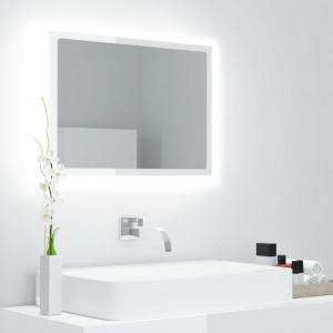Oglindă de baie cu LED, alb extralucios, 60x8,5x37 cm, PAL