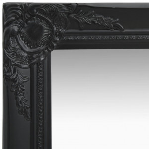 Oglindă de perete în stil baroc, negru, 50 x 50 cm