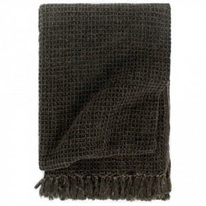 Pătură decorativă, antracit/maro, 125 x 150 cm, bumbac