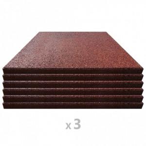 Plăci de protecție la cădere 18 buc. roșu 50x50x3 cm cauciuc