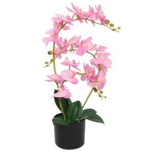 Plantă artificială orhidee cu ghiveci, 65 cm, roz