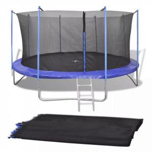 Plasă de siguranță pentru trambulină rotundă de 4,57 m negru PE