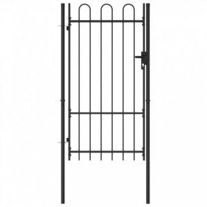 Poartă de gard, o ușă, cu vârf arcuit, negru, 1 x 1,75 m, oțel