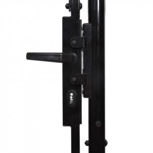 Poartă de gard, o ușă, cu vârf suliță, negru, 1 x 1,2 m, oțel