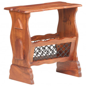 Raft pentru reviste, 50x30x53 cm, lemn masiv de acacia