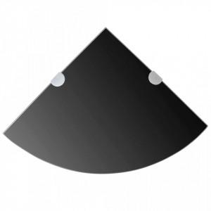 Rafturi de colț cu suporturi crom 2 buc. negru 25x25 cm sticlă