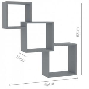 Rafturi de perete cub, gri extralucios, 84,5x15x27 cm, PAL
