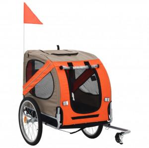 Remorcă de bicicletă pentru câini, portocaliu și gri