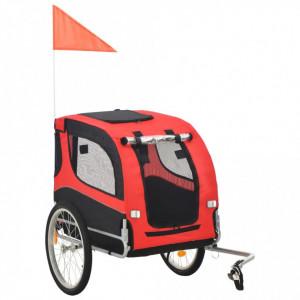 Remorcă de bicicletă pentru câini, roșu și negru