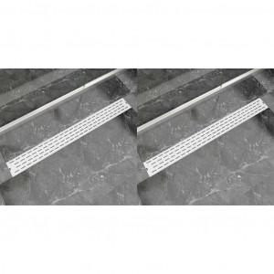 Rigolă de duș liniară 2 buc. 1030x140 mm oțel inoxidabil, linii