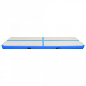 Saltea gimnastică gonflabilă cu pompă albastru 400x100x15cm PVC