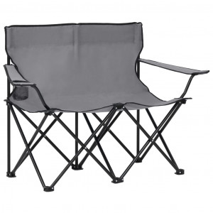 Scaun de camping pliabil 2 locuri, gri, oțel și material textil