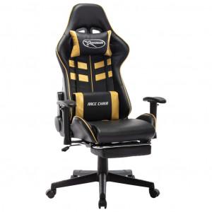 Scaun jocuri cu suport picioare, negru/auriu, piele artificială