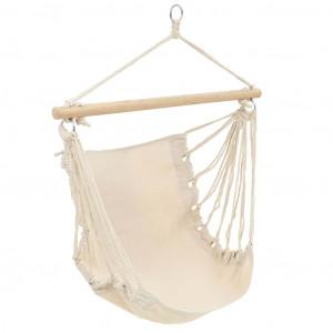 Scaun leagăn/hamac mare din material textil, alb crem