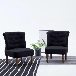 Scaun stil franțuzesc, negru, material textil