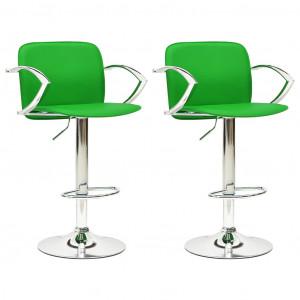 Scaune de bar , 2 buc., verde, piele ecologică
