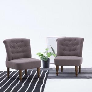 Scaune stil franțuzesc, 2 buc., gri taupe, material textil