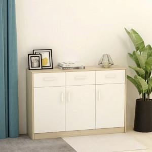 Servantă, alb și stejar Sonoma, 110 x 34 x 75 cm, PAL