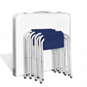 Set camping masă reglabilă și 4 scaune 120 x 60 cm