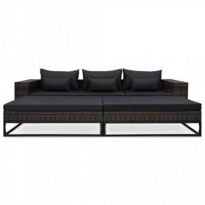 Set canapele de grădină cu perne, 5 piese, gri, poliratan