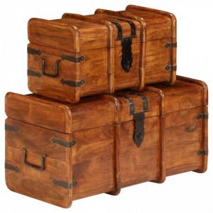Set cufere, 2 buc., lemn masiv de salcâm, finisaj sheesham
