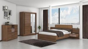 Set Dormitor Effect, Nuc, Dulap 150 cm, Pat 160x200 cm, 2 noptiere, comoda