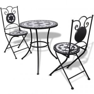 Set mobilier bistro, 3 piese, negru/alb, plăci ceramice