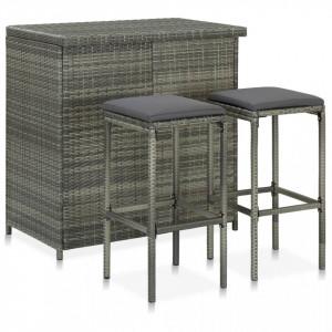 Set mobilier de bar, 3 piese, gri, poliratan
