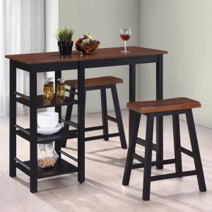 Set mobilier de bar, 3 piese, MDF, negru