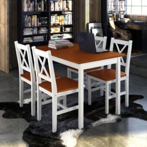 Set mobilier de bucătărie, 5 piese, maro și alb