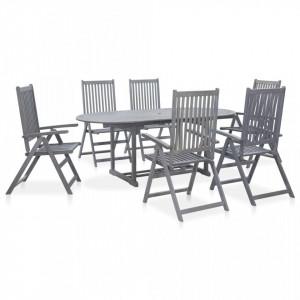 Set mobilier de exterior, 7 piese, gri, lemn masiv de acacia