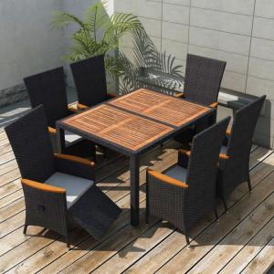 Set mobilier de exterior 7 piese negru poliratan lemn acacia