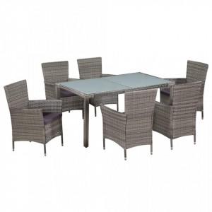 Set mobilier de exterior cu perne, 7 piese, gri, poliratan