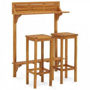Set mobilier de grădină, 3 piese, lemn masiv de acacia