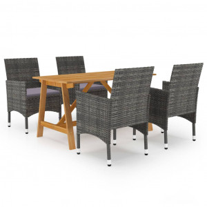 Set mobilier de grădină, 5 piese, gri