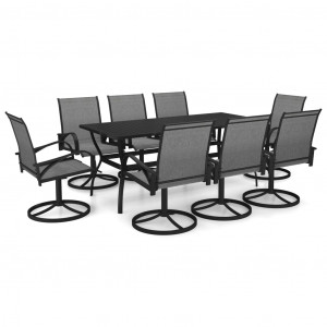 Set mobilier de grădină, 9 piese, textilenă și oțel inoxidabil