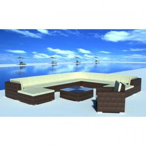 Set mobilier de grădină cu perne, 12 piese, maro, poliratan