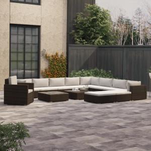 Set mobilier de grădină cu perne, 13 piese, maro, poliratan