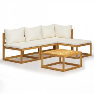 Set mobilier de grădină cu perne 5 piese crem lemn masiv acacia